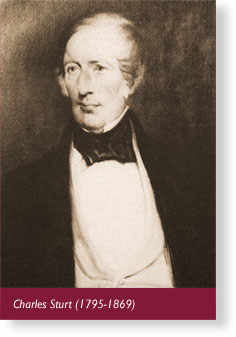 Charles Sturt (1795-1869). Explorer. Discovered the Murray River
