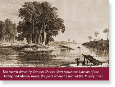 Captain Charles Sturt at the Junction of the Murray Darling Rivers.